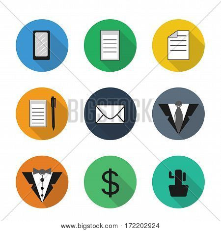 Vector flat office icons in color rounds. Set