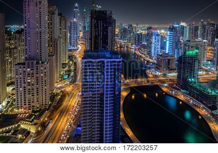 Dubai Marina in the city of Dubai in the UAE