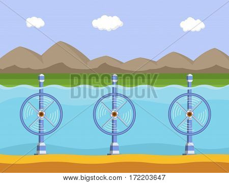 Tidal power station. Flat style cartoon tidal tower station. Innovation clean power. Vector illustration.