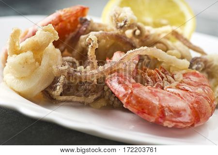 mixed fried fish shrimp squid and octopus