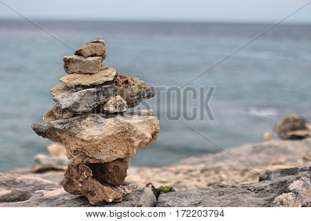 Cairn on the cliffs of Isla Mujeres, Mexico