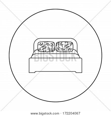Wooden double bed icon in outline style isolated on white background. Furniture and home interior symbol vector illustration.