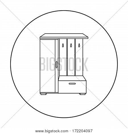 Vestibule wardrobe icon in outline style isolated on white background. Furniture and home interior symbol vector illustration.