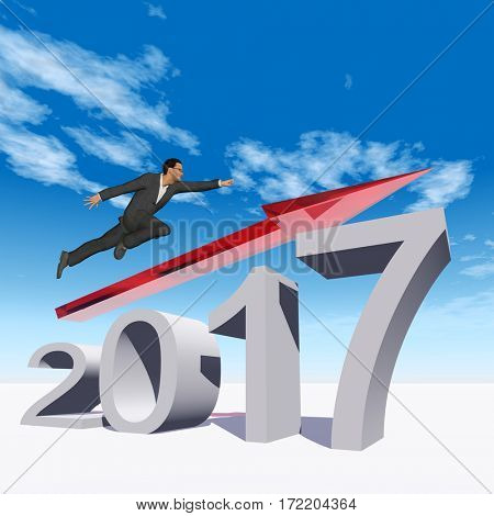 Conceptual 3D illustration human, man or businessman flying  over an red 2017 year symbol with an arrow on blue sky white background