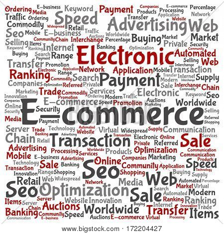 Concept or conceptual E-commerce electronic sales square word cloud isolated on background