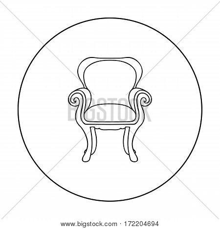 Wing-back chair icon in outline style isolated on white background. Furniture and home interior symbol vector illustration.