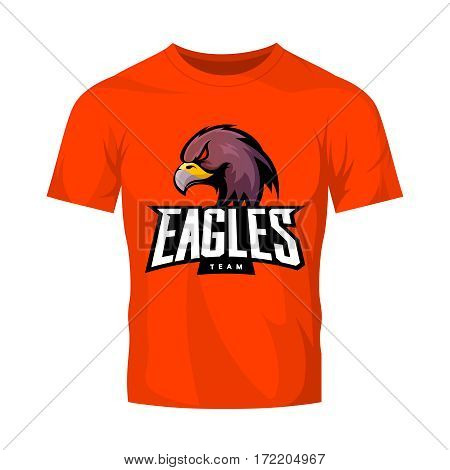 Furious eagle sport vector logo concept isolated on orange t-shirt mockup. Modern web infographic professional team pictogram. Premium quality wild bird t-shirt tee print illustration.