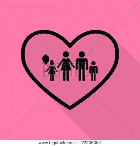 Family sign illustration in heart shape. Black icon with flat style shadow path on pink background.