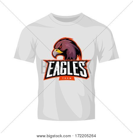 Furious eagle sport vector logo concept isolated on white t-shirt mockup. Modern web infographic professional team pictogram. Premium quality wild bird t-shirt tee print illustration.