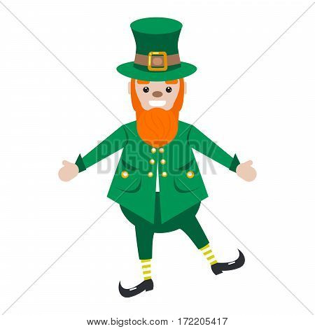 Irish St. Patrick leprechaun bearded character vector cartoon illustration. Isolated shoemaker dwarf in green costume and hat.