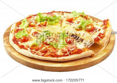 Pizza Carbonara, mozzarella, sour cream, eggs, bacon, lettuce, fresh tomato, parmesan cheese isolated on white background
