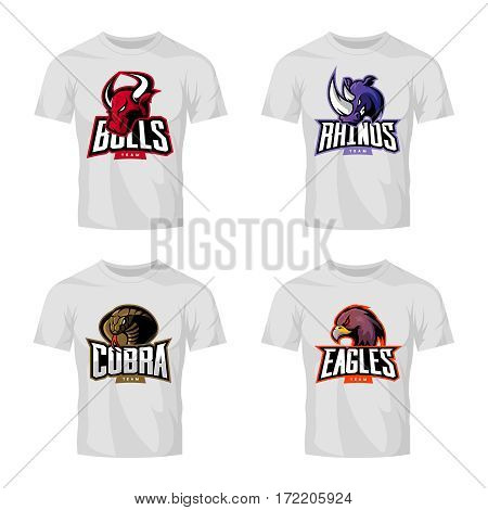 Furious rhino, bull, eagle and snake sport vector logo concept set isolated on white t-shirt mockup.  Modern web infographic team pictogram. Premium quality wild animal t-shirt tee print illustration.