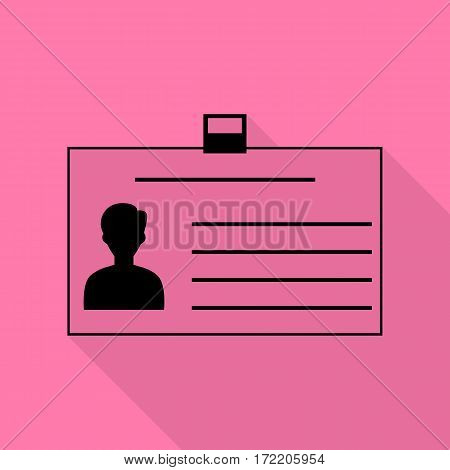 Identification card sign. Black icon with flat style shadow path on pink background.