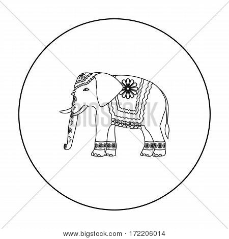Indian elephant icon in outline style isolated on white background. India symbol vector illustration.