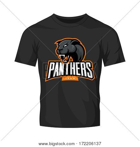 Furious panthers sport vector logo concept isolated on black t-shirt mockup. Modern web infographic professional team pictogram. Premium quality wild animal t-shirt tee print illustration.