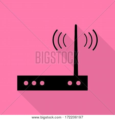 Wifi modem sign. Black icon with flat style shadow path on pink background.
