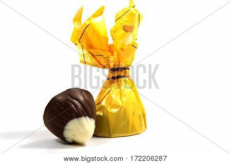 Chocolate candies isolated on white background. .