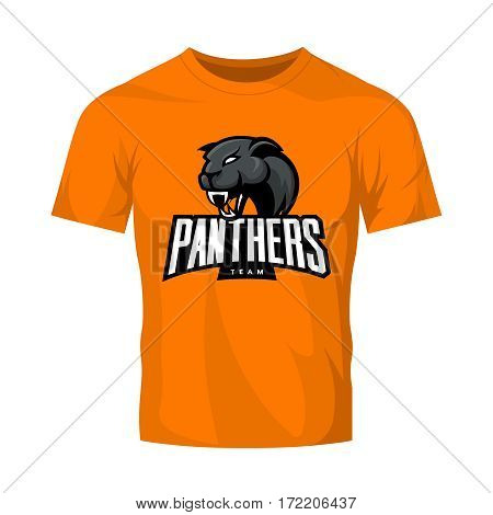 Furious panthers sport vector logo concept isolated on orange t-shirt mockup. Modern web infographic professional team pictogram. Premium quality wild animal t-shirt tee print illustration