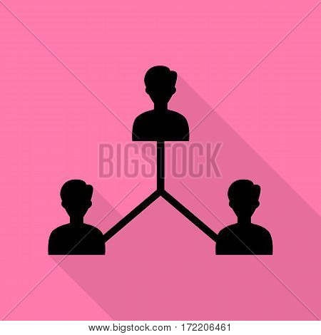 Social media marketing sign. Black icon with flat style shadow path on pink background.
