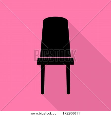 Office chair sign. Black icon with flat style shadow path on pink background.
