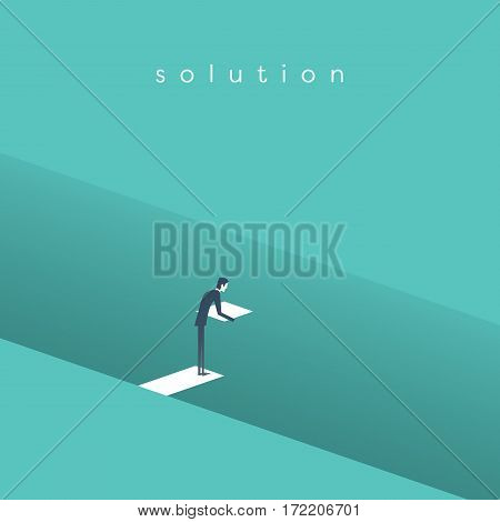 Business solution vector concept with businessman building bridge over deep hole. Symbol of business innovation, overcome challenges and opportunity. Eps10 vector illustration.