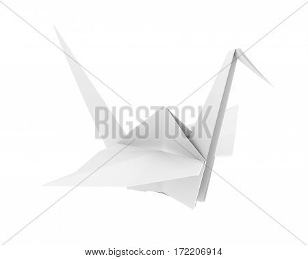 Origami Paper Crane isolated on white background. 3D render
