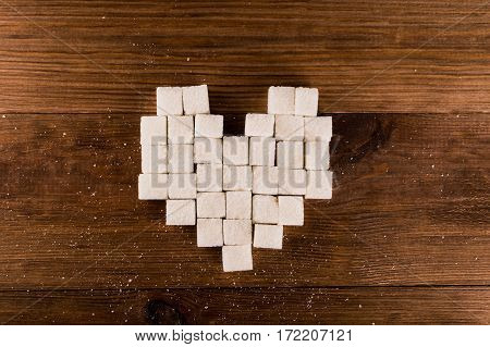 Diabetes is terrible disease. Heart of sugar cubes.