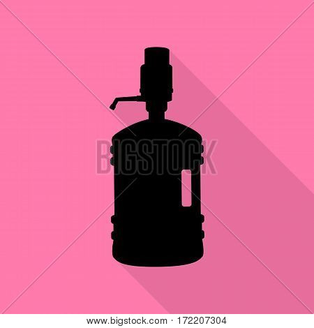 Plastic bottle silhouette with water and siphon. Black icon with flat style shadow path on pink background.