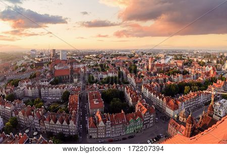 Panorama of the Gdansk old city during sunset in Poland Europe.