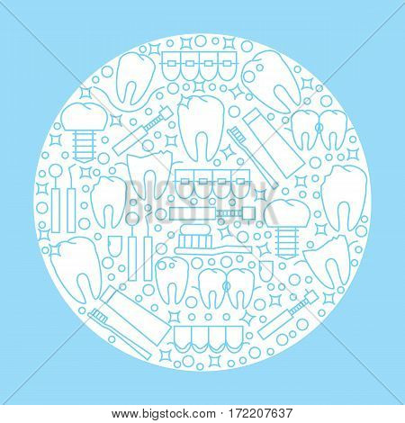The modern round logo or emblem of the dental clinic. Icons of sickness and teeth treatment. Vector illustration.