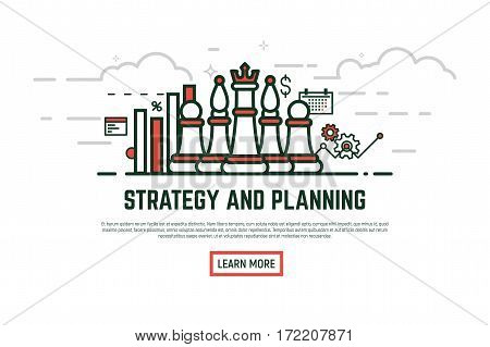 Linear style strategy and planning vector illustration. Chess pieces with gears and growth chart banner. Line and bar graph placard. Text and learn more button.
