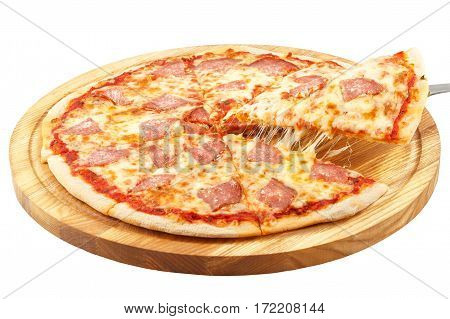 Pizza Salami, mozzarella, salami isolated on white background