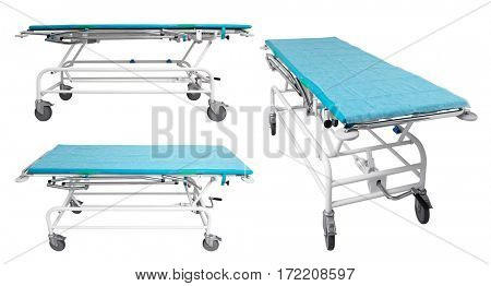 Modern hospital equipment on white background
