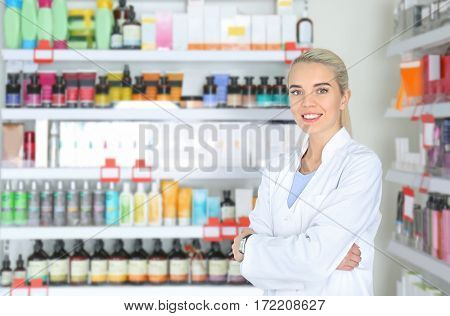 Female shop assistant at work