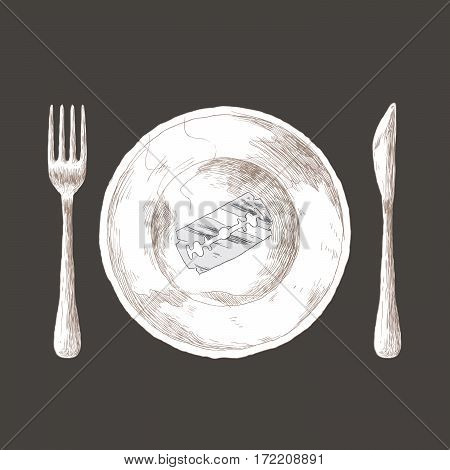 Anorexia concept - razor blade on a plate
