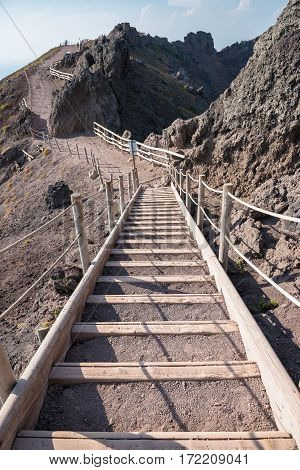 Stairs on footpath around the crater of Vesuvius Campania Italy