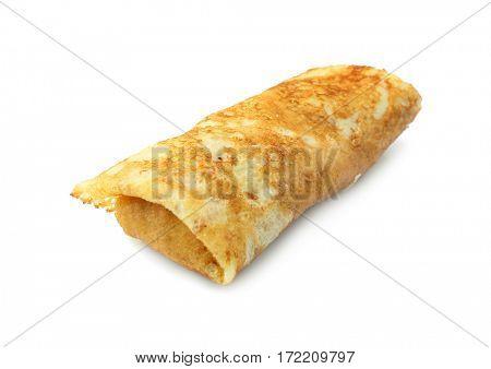 Tasty pancake on white background