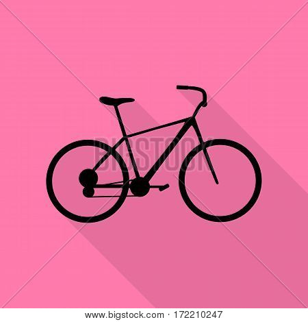 Bicycle, Bike sign. Black icon with flat style shadow path on pink background.