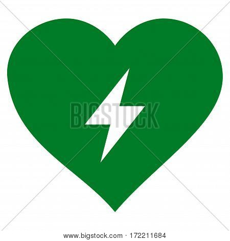 Heart Power flat icon. Vector green symbol. Pictogram is isolated on a white background. Trendy flat style illustration for web site design logo ads apps user interface.