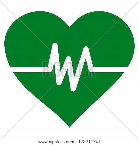 Heart Pulse flat icon. Vector green symbol. Pictograph is isolated on a white background. Trendy flat style illustration for web site design logo ads apps user interface.