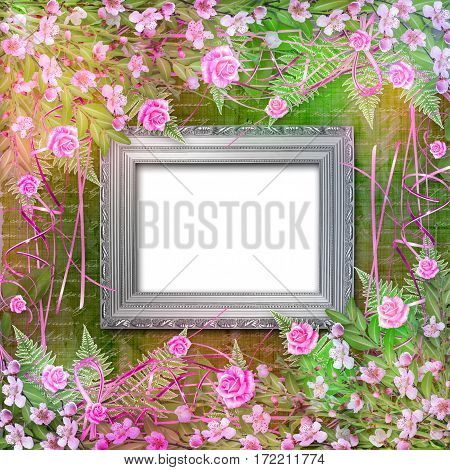 Writing Abstract Background With Paper And Floral Beautiful Bouquet