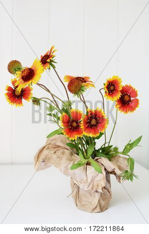 Echinacea red and yellow flowers in paper vase