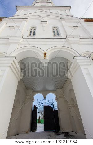 Kazan, Russia, 9 february 2017, entrance in Zilant monastery - oldest orthodox building, wide angle