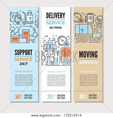 Print or web banners design template for delivery, moving service or trucking industry. Line style illustration. Ideal for business layout.