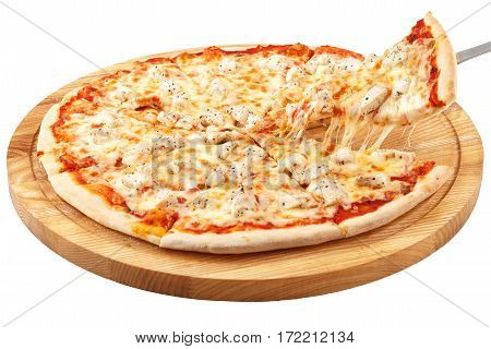Pizza Chicken, mozzarella, chicken isolated on white background