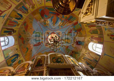 Kazan, Russia, 9 february 2017, painted ceiling inside church in Zilant monastery - oldest orthodox building, horizontal