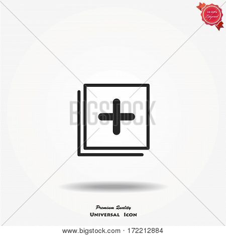Plus icon simple add sign vector cross illustration