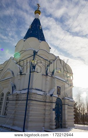 Kazan, Russia, 9 february 2017, Zilant monastery - oldest orthodox building in city - winter Russian landscape - architectural ensemble, sunny day