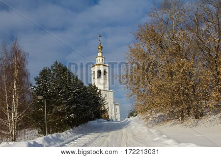 Kazan, Russia, 9 february 2017, Zilant monastery - oldest orthodox building in city - winter Russian landscape, horizontal, sunny day