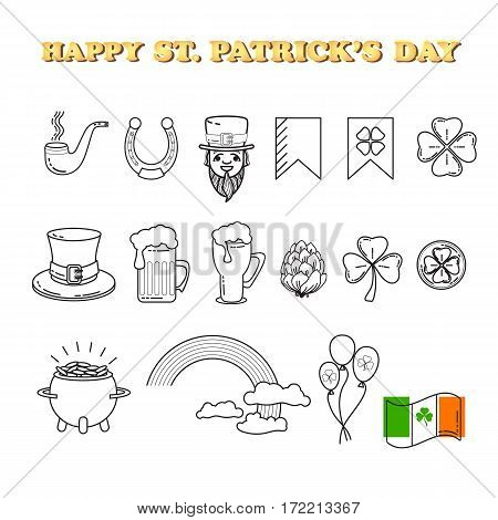 Vector set of St. Patrick's Day icon. Holiday Irish design element. Traditional irish symbols in modern line style for Web and Print. Isolated on white background.